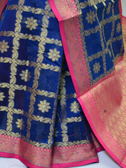 Banarasee Chanderi Cotton Saree With Pink Satin Border & Contrast Blouse-Deep Blue