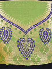 Banarasee Handwoven Art Silk Unstitched Lehenga & Blouse Fabric With Meena Work-Pastel Green