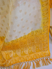 Banarasee Handloom Pure Tussar Silk Salwar Kameez Resham Buti Design Fabric-Yellow