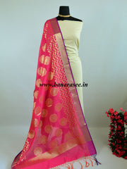 Banarasee Cotton Silk Gold Zari Big Buta Dupatta-Hot Pink