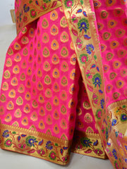 Banarasee Faux Georgette Saree With Paithani Border-Hot Pink