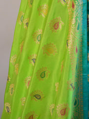 Banarasee Salwar Kameez Glossy Semi Silk Zari & Meena Jaal Work Fabric-Sea Green