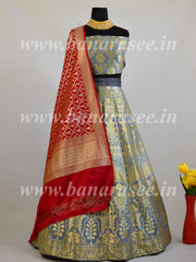 Banarasee Handwoven Art Silk Unstitched Lehenga & Blouse Fabric-Grey