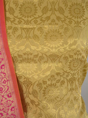 Banarasee Handwoven Brocade Salwar Kameez Fabric With Chanderi Cotton Dupatta-Gold