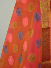 Banarasee Chanderi Cotton Salwar Kameez Fabric With Resham Buta Design-Red