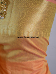 Banarasee Chanderi Cotton Salwar Kameez Fabric With Zari Dupatta-Gold