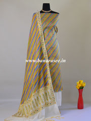 Banarasee  Hand-brush Painted Tissue Salwar Kameez Fabric With Cotton Silk Dupatta-Multicolor