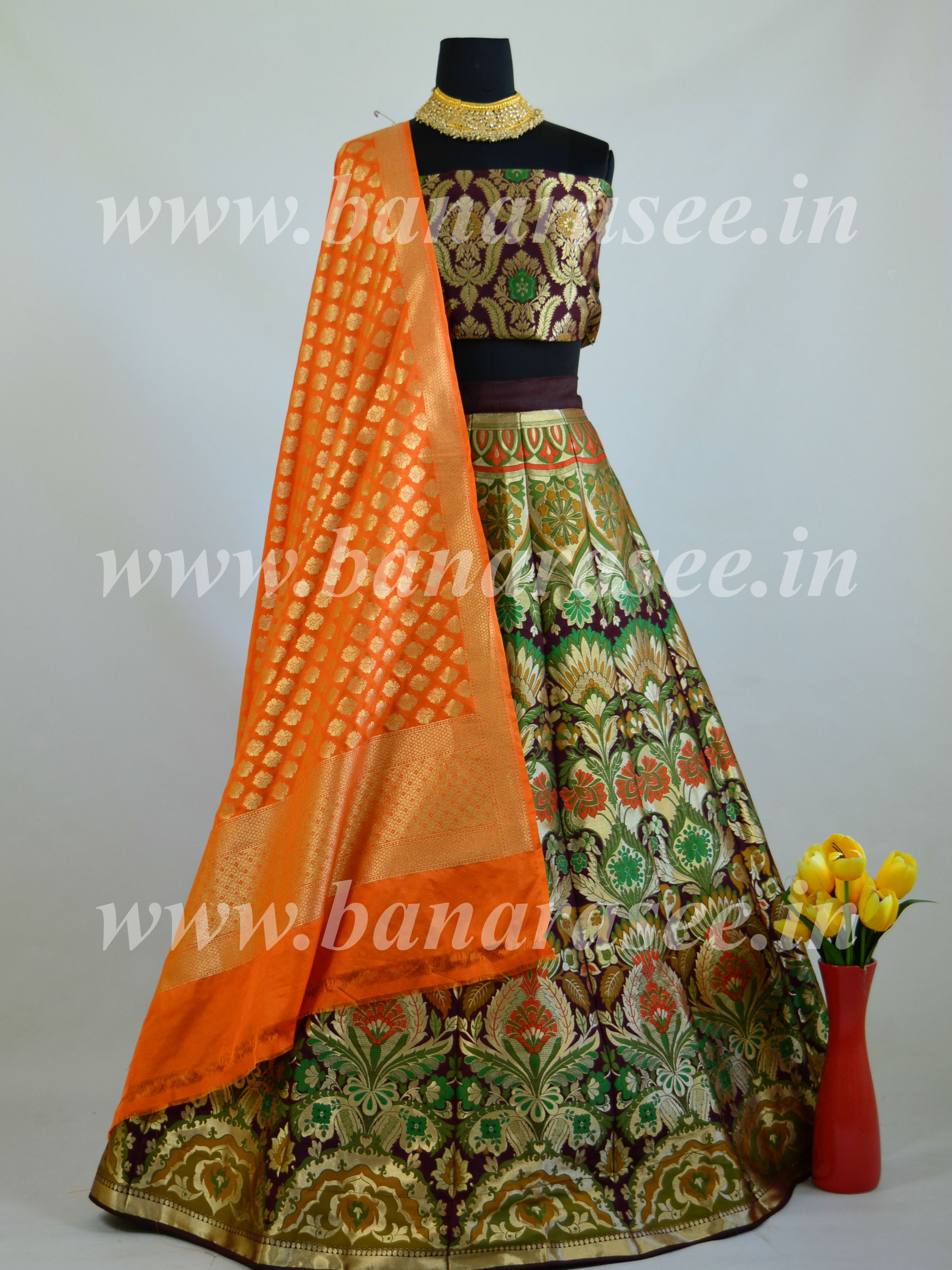 Banarasee Handwoven Art Silk Unstitched Lehenga & Blouse Fabric With Meena Work-Brown