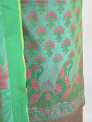 Banarasee Salwar Kameez Cotton Silk Multicolor Resham Buti Woven Fabric-Green