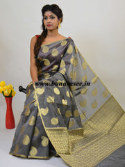 Banarasee Cotton Silk Mix Saree With Zari Paisley Buta-Grey