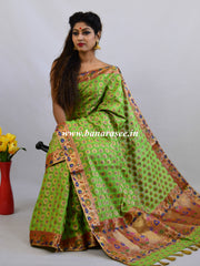 Banarasee Faux Georgette Saree With Paithani Border-Green