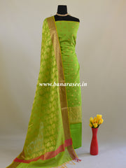 Banarasee Chanderi Cotton Salwar Kameez Fabric With Dupatta-Green
