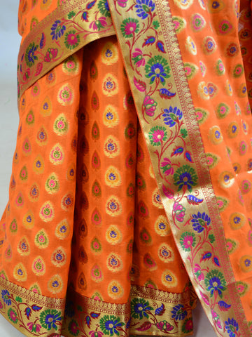Banarasee Faux Georgette Saree With Paithani Border-Orange