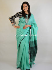 Banarasee Handloom Khadi Black Border Saree With Black Blouse-Sea Green