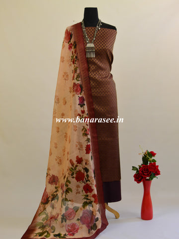 Banarasee Cotton Silk Salwar Kameez Ghicha Fabric With Digital Print Dupatta-Coffee Brown