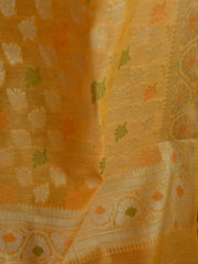 Banarasee Chanderi Cotton Small Buti & Zari Border Dupatta-Yellow