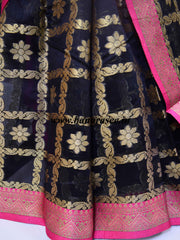 Banarasee Chanderi Cotton Saree With Pink Satin Border & Contrast Blouse-Black
