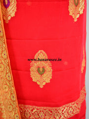 Banarasee Handloom Pure Chiffon Silk Salwar Kameez Fabric With Zari Buta-Crimson Red
