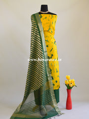 Banarasee Shibori Dyed Chanderi Salwar Kameez Fabric With Contrast Zari Dupatta-Yellow & Green