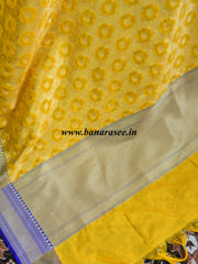 Banarasee Art Silk Dupatta Jaal Design With Contrast Border-Yellow