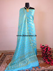 Banarasee/Banarasi Salwar Kameez Cotton Silk Gold Zari Leaf Buti Woven Fabric-Aqua Blue