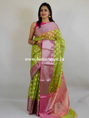 Banarasee Handwoven Broad Silver Border Tissue Saree-Yellow