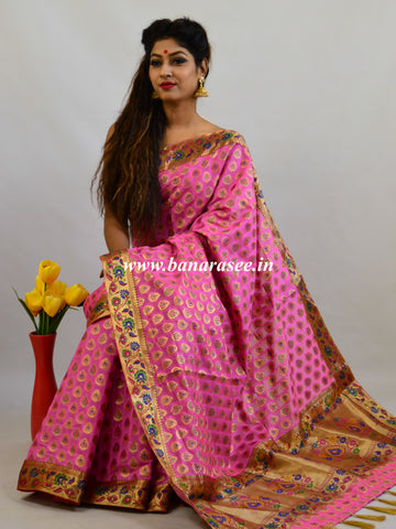 Banarasee Faux Georgette Saree With Paithani Border-Pink