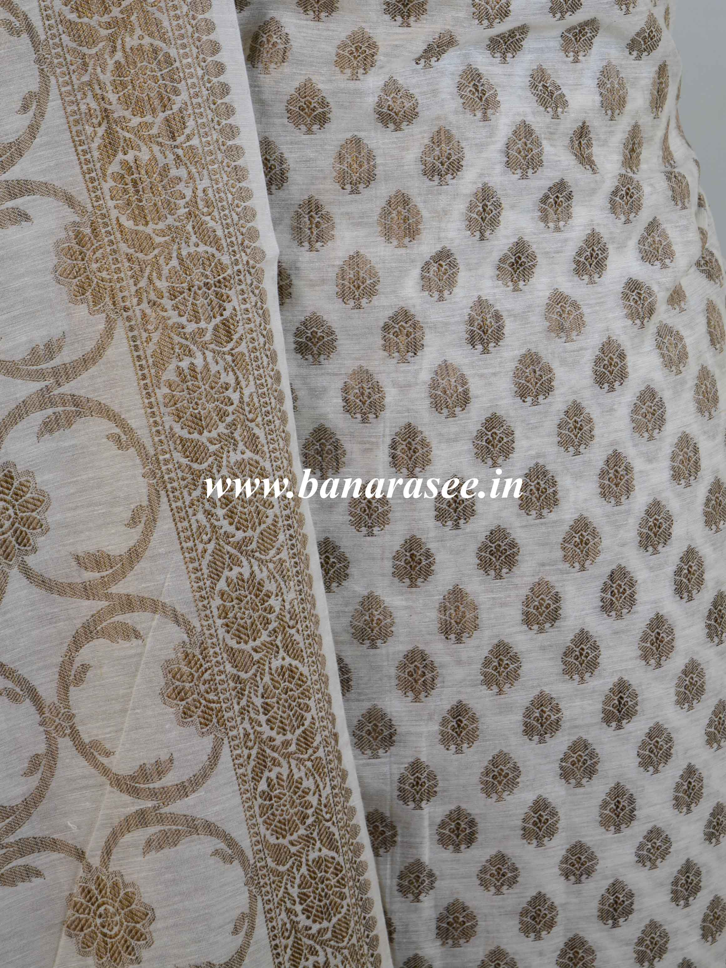 Banarasee Cotton Mix Ghichha Work Salwar Kameez Fabric With Dupatta-Off White