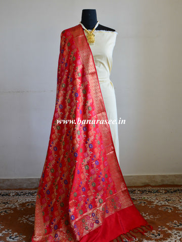 Banarasee Art Silk Dupatta With Multicolor Floral Stripes Design-Red