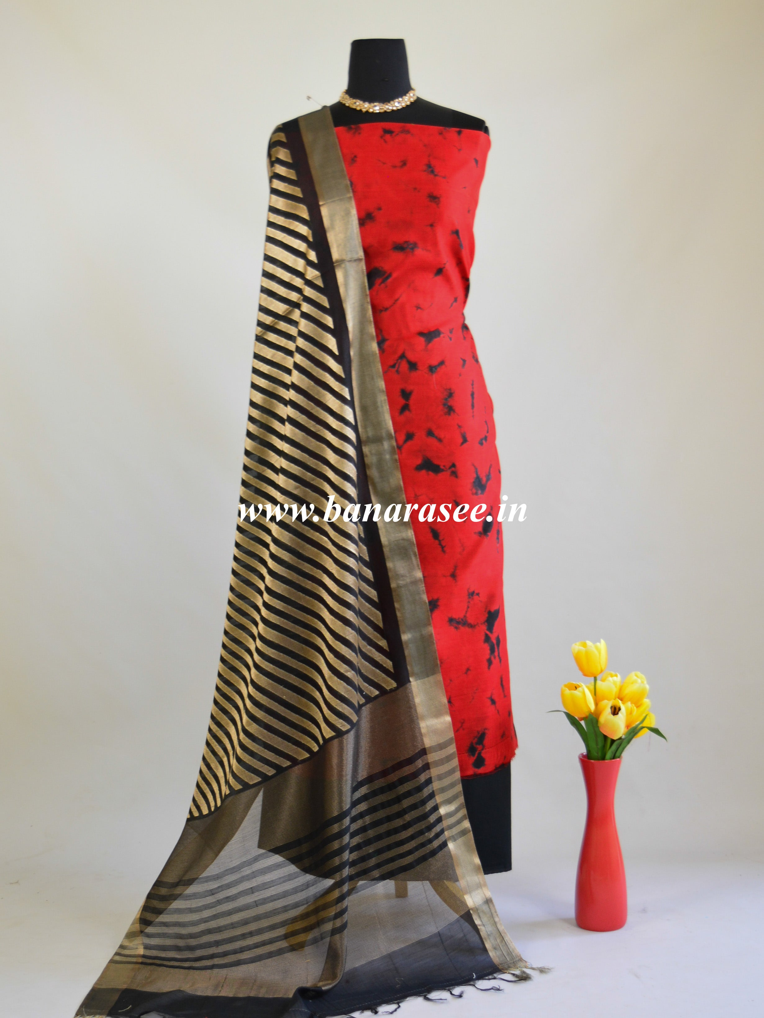 Banarasee Shibori Dyed Chanderi Salwar Kameez Fabric With Contrast Zari Dupatta-Red & Black