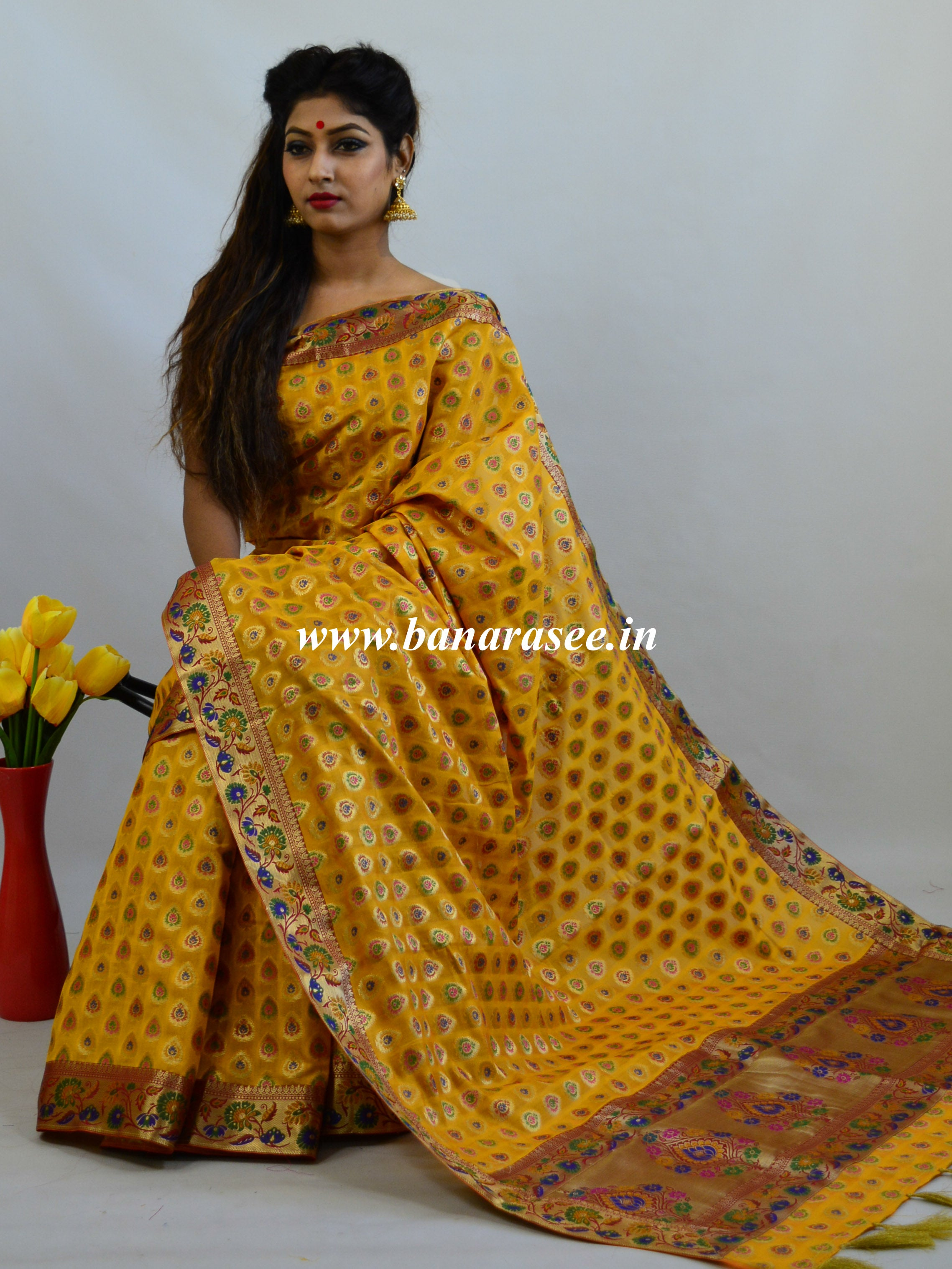 Banarasee Faux Georgette Saree With Paithani Border-Yellow
