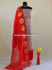 Banarasee Handwoven Satin Brocade Salwar Kameez Fabric With Red Dupatta-Grey