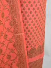 Banarasee Cotton Mix Ghichha Work Salwar Kameez Fabric With Dupatta-Peach