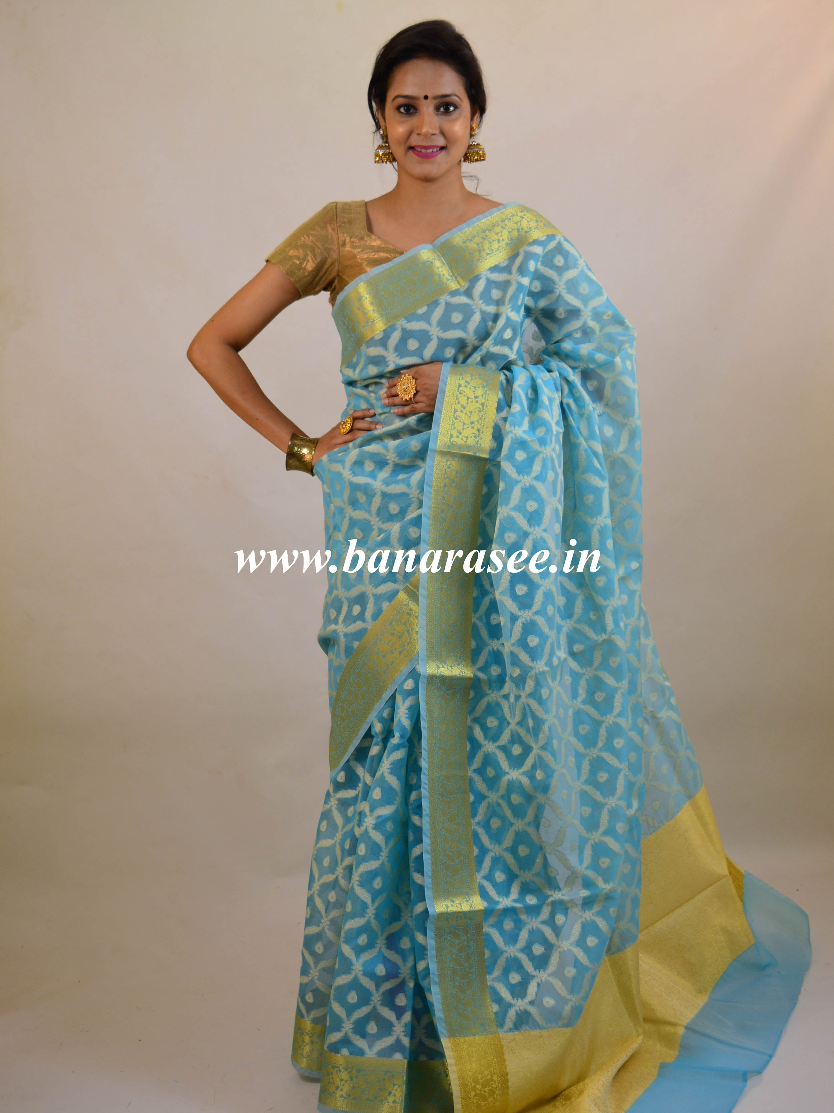 Banarasee Cotton Silk  Saree With Resham Jaal & Zari Border-Blue