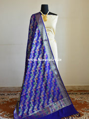 Banarasee Art Silk Dupatta With Multicolor Floral Stripes Design-Royal Blue