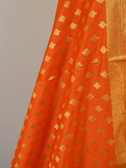 Banarasee Art Silk Dupatta Small Buti Design-Orange