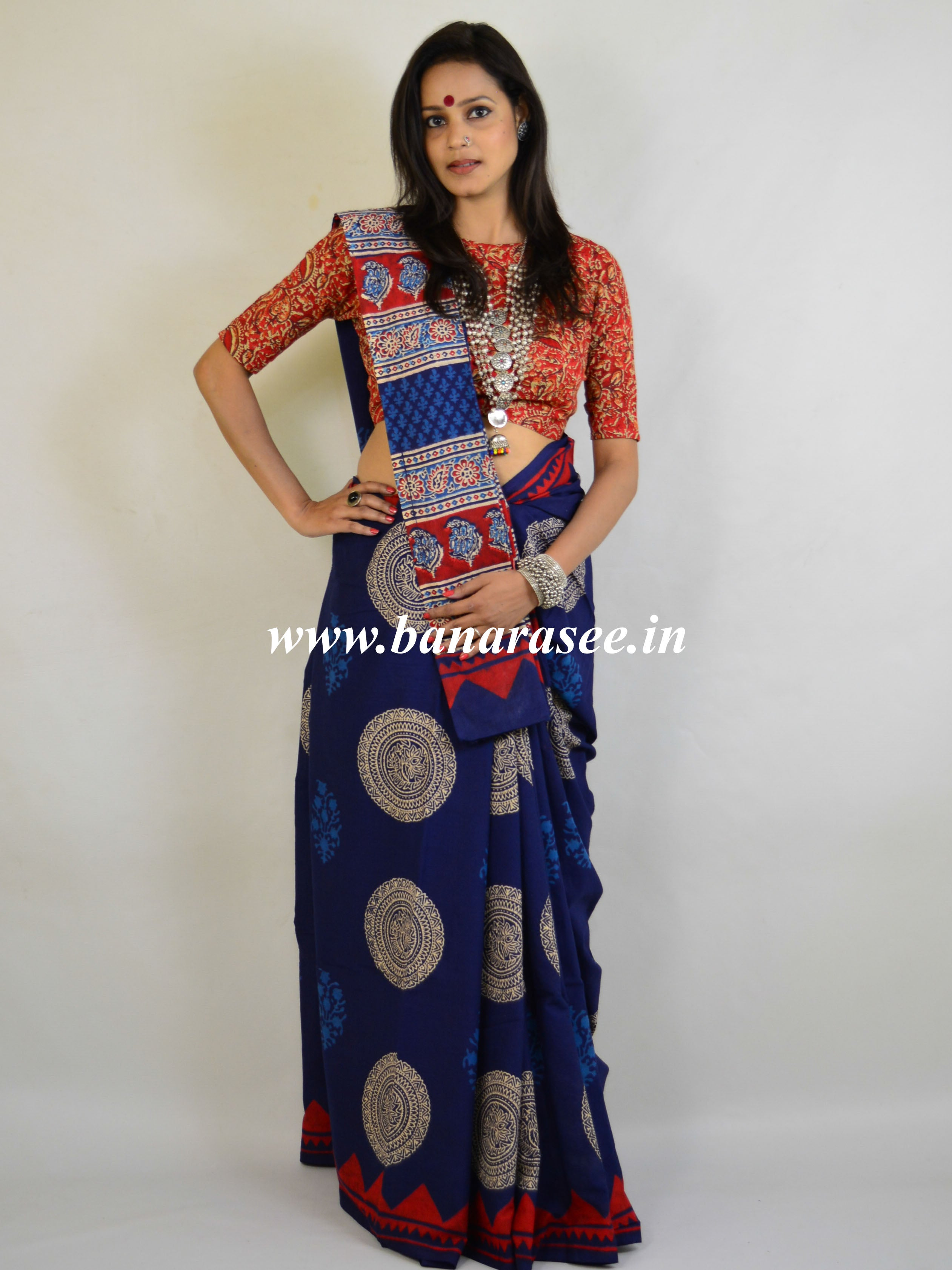 Handloom Mul Cotton Bagru Print Saree-Indigo