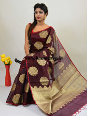 Banarasee Cotton Silk Mix Saree With Big Zari Buta-Brown