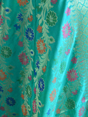 Banarasee Art Silk Dupatta With Multicolor Floral Stripes Design-Sea Green