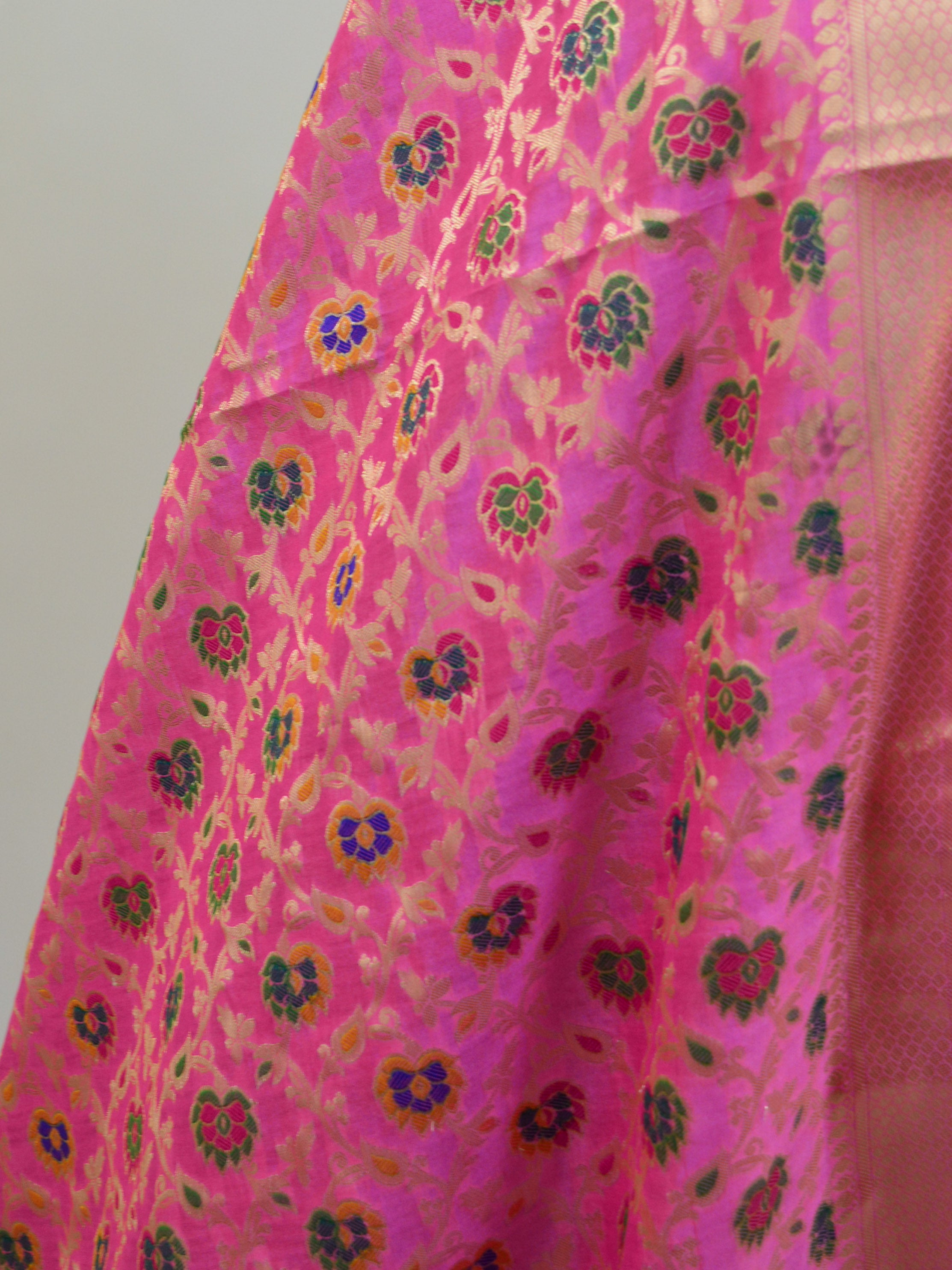 Banarasee Art Silk Dupatta With Multicolor Floral Jaal Design-Pink