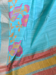 Banarasee Art Silk Sari With Floral Resham Border-Sea Green