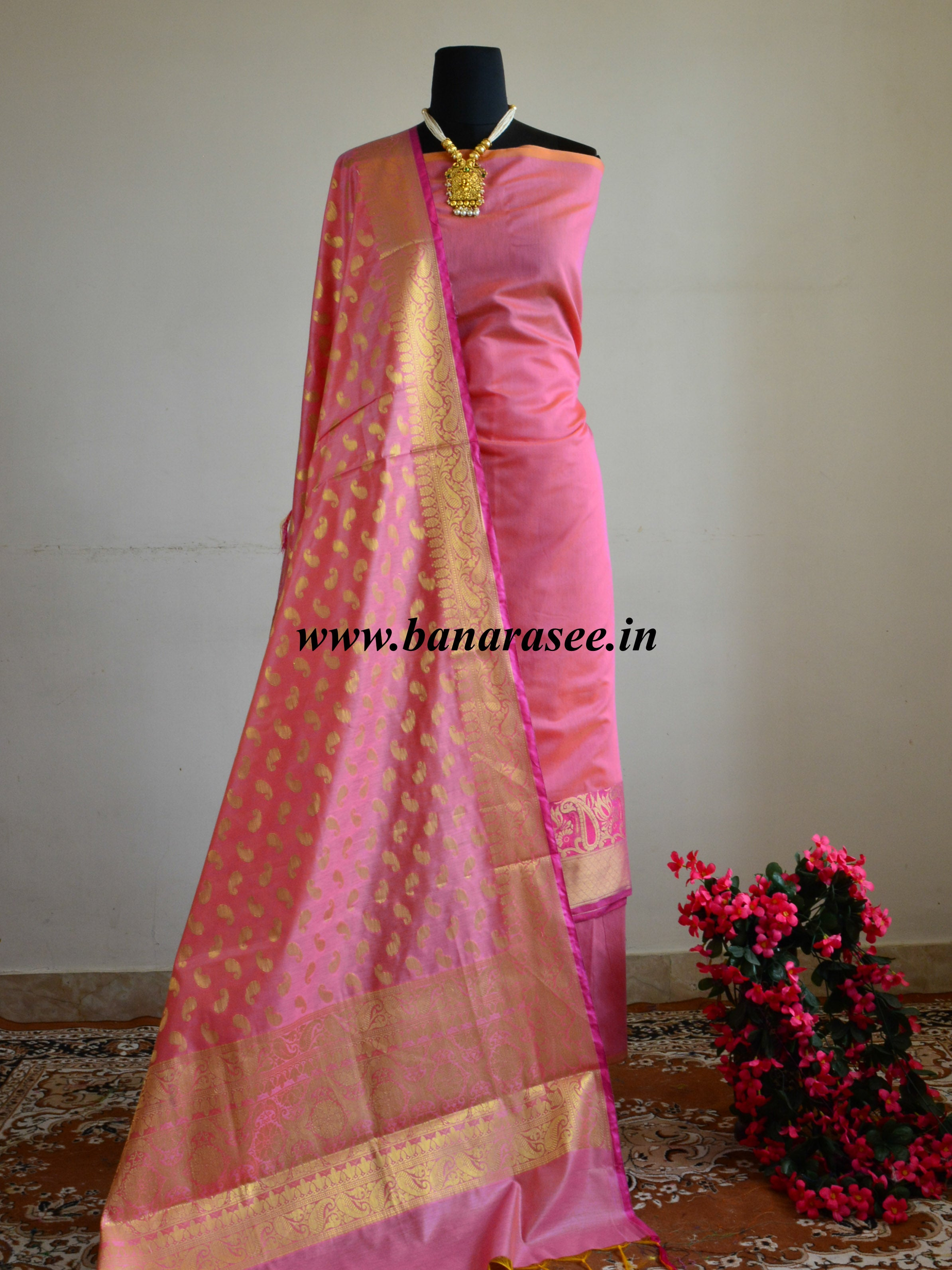 Banarasee Chanderi Cotton Salwar Kameez Fabric With Meena Border Design-Pink
