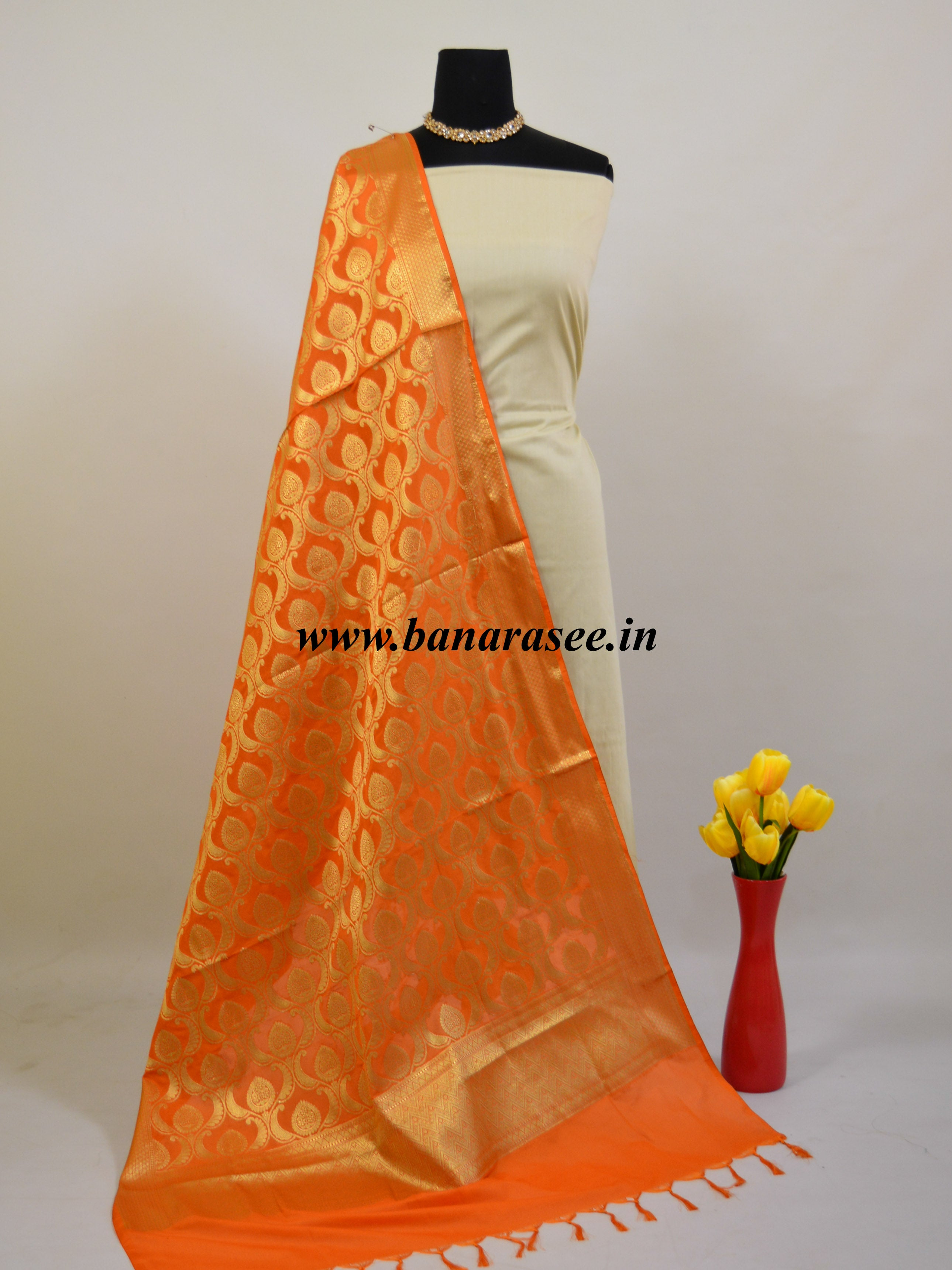 Banarasee Art Silk Dupatta Heavy Jaal Design-Orange