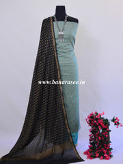 Banarasee Salwar Kameez Soft Handloom Cotton With Resham Buti Fabric-Grey & Black