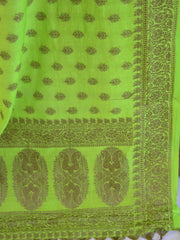 Banarasee Cotton Mix Ghichha Work Salwar Kameez Fabric With Green Dupatta-Yellow