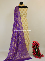 Banarasee Cotton Silk Antique Buta Salwar Kameez Fabric With Violet Dupatta-Off White