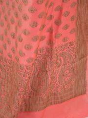 Banarasee Cotton Salwar Kameez With Fabric With Jute Work-Peach