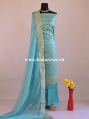 Banarasee Salwar Kameez Cotton Silk Woven Zari Buti Fabric-Sky Blue