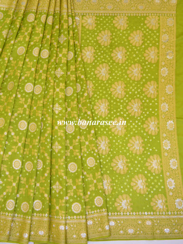 Banarasee Handloom Cotton Silk Bandhini Dyed Sona Rupa Zari Saree-Green