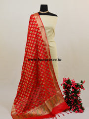 Banarasee Art Silk Dupatta With Multicolor Circle Buti Design-Red